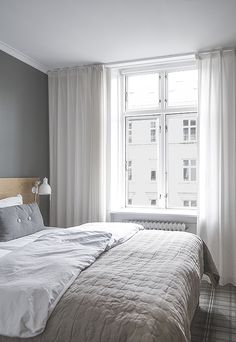 Home Decor Contemporary Dream Bedroom, Home Bedroom, Bedroom Decor, Bedrooms, Scandinavian Interior Bedroom, Grey Curtains Bedroom, Cozy House, Home Decor Accessories, Cheap Home Decor