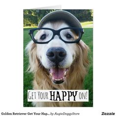 Shop Golden Retriever Get Your Happy On Postcard created by AugieDoggyStore. Labrador Retriever, Dogs Golden Retriever, Golden Retrievers, All Dogs, Dogs And Puppies, Doggies, Funny Dogs, Cute Dogs, Smiling Dogs
