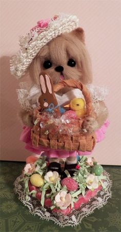 Needle felted Yorkie girl dog in Easter Dress, hat and basket