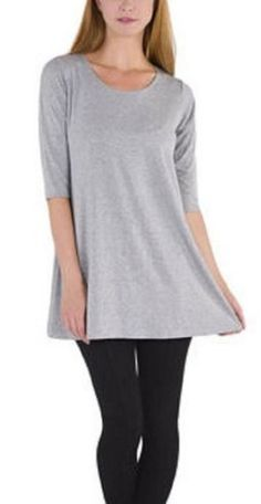 Beatrix Ost Womens Tunic Top Lycra Lightweight  Sleeves  Long Length Shirt Grey Medium ** Find out more about the great product at the image link.(This is an Amazon affiliate link and I receive a commission for the sales)