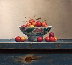 Still Life with Cherries in a Chinese Bowl by Jos Van Riswick