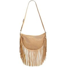 Urban Originals Sienna Spirit Perforated Faux-Leather Hobo Bag (4,815 INR) ❤ liked on Polyvore featuring bags, handbags, shoulder bags, apparel & accessories, camel, boho shoulder bag, fringe purse, white hobo purse, fringe shoulder bag and white shoulder bag