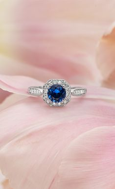 Blue Sapphire Ring with Diamonds