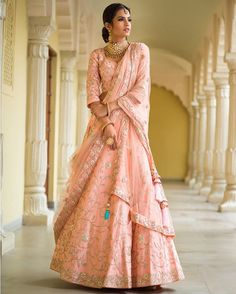 Looking to break away from tradition and go for a lehenga that is not red? This one from @vasansi_jaipur is just the right one for you. #BridalWear #RevealingtheVasansiBride #HawaMahal #OldCity #TraditionalEmbroideries #TimelessCollections via GRAZIA INDIA MAGAZINE OFFICIAL INSTAGRAM - Fashion Campaigns  Haute Couture  Advertising  Editorial Photography  Magazine Cover Designs  Supermodels  Runway Models