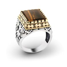 Men Ring 925 Silver,Tiger's Eye Stone Size 8-9-10-11 US Men's Gemstone Jewellery #IstanbulJewellery #SolitairewithAccents