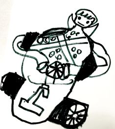 Student's drawing of Princess Peach from Mario Kart.