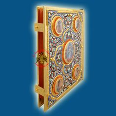Orthodox Enamel Holy Gospel Book Cover Cross Center Design Gold Plated, Holy Gospel & Epistles Covers, www.Nioras.com - Byzantine Orthodox Art & Greek Traditional Products - Byzantine Christian Icons, Mount Athos Incense, Orthodox Church Supplies, Wedding Gifts, Bookstore Supplies