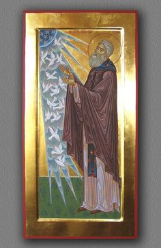 Pp.  Sergius with the birds.  Icon.  Wood, gesso, egg tempera, gold leaf.