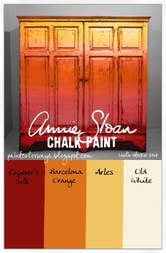 Gradations and tints of Annie Sloan Chalk Paint, Emperor's Silk, Barcelona Orange, and Arles on an old pine cabinet.
