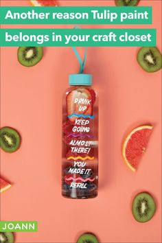 Keep track of your water intake with this great water bottle. It's easy with just a bottle and some dimensional paint. Get crafty and stay hydrated. Tulip Painting, Personalized Water Bottles, Creative Skills, Stay Hydrated, Easy Diy Projects, It's Easy, Cleaning Supplies, The Creator, Track