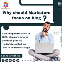*Why should marketers focus on blog* According to research in 2020, blogs are among the three primary media form that is used in content strategy. Do you include blogs in your marketing straties? More more information in digital marketing and content writing visit our official website. #digitalmarketing #marketing #facts #Doyouknow #DigitalCreaters #socialmediamarketing #Blogs #contentwriting #website #branding #SEO #OnlineMarketing #business #marketingtips #advertising #Research… Online Marketing, Social Media Marketing, Digital Marketing, Research, Being Used, Did You Know, Seo, Advertising, Branding