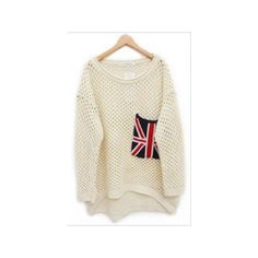 Beige Long Sleeve Union Jack Pocket Open Stitch Jumper ($27) via Polyvore
