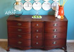 Refinishing Old Furniture - Morganton Serpentine Dresser via While They Snooze