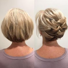 Newest Short Hair Updo Hairstyle Ideas - frisuren Up Hairstyles, Hairstyle Ideas, Bob Updo Hairstyles, Popular Hairstyles, Natural Hairstyles, Short Hair Cuts, Pixie Cuts, Hair Lengths, Hair Inspiration