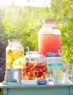 Backyard party ideas and decor - summer entertaining ideas - redbook backyard bbq, bbq party Summer Sangria, Summer Bbq, Summer Parties, Summer Drinks, Teen Pool Parties, Sangria Bar, Fruity Drinks, Summer Pool Party, Summer Food