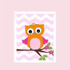 Instant Orange Hot Pink Owl On Chevron By Fabbprints