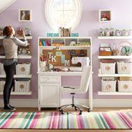 Study Spaces | PBteen  I like the floating shelves
