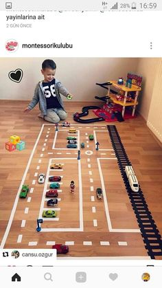 Child's play streets marked in tape on a floor - Kinderspiele Toddler Learning Activities, Indoor Activities, Infant Activities, Preschool Activities, Camping Activities, Games For Kids, Diy For Kids, Crafts For Kids, Car Crafts
