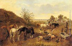 A Farmstead painting - John Frederick Herring, Jnr A Farmstead art painting