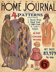The fashion filled cover of the January 1926 edition of Australian Home Journal.