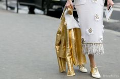 Matching in Metallics - Paris Street Style 2015. For more fashion trend forecasting, check out Trendstop.com