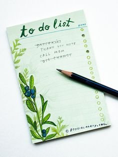 Write it down, get it done! Botanical List Notepad / Blueberry To Do List by boygirlparty