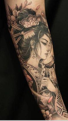 Half Sleeve Tattoo Stencils, Koi Tattoo Sleeve, Japanese Sleeve Tattoos, Full Sleeve Tattoos, Geisha Tattoo Design, Japan Tattoo Design, Forearm Tattoo Design, Japanese Tattoo Designs, Small Girl Tattoos