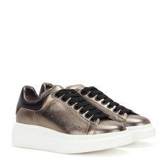 Alexander McQueen - Metallic metallic leather sneakers - Alexander McQueen's sneakers will add a sports-luxe finish to your daytime look. @ www.mytheresa.com