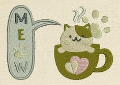 Meow Mug Rug In The Hoop Machine Embroidery Design