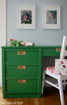Desk painted in Benjamin Moore Clover Green