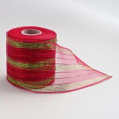 Red Green Mesh Ribbon (4 inch x 4 yd). $8.50, via Etsy.