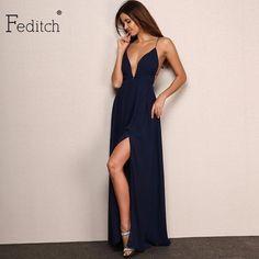 18e33b56 Feditch New Fashion 4 Color Deep V Neck Maxi Dress Women Sexy Backless  Evening Party Dresses Nighrtclub Wear Vestidos Hot