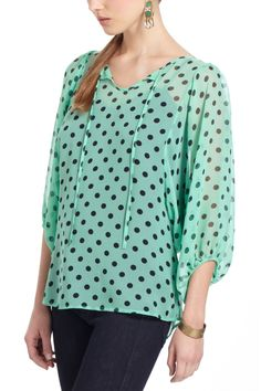 spotted peasant blouse