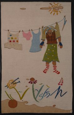Sarah Swett, Please, Can you Pass me my Knitting? 31 x 24 inches, hand-dyed wool tapestry. Wool warp and weft, natural dyes