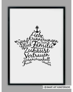 Familien Poster, Stern Kunstdruck / family art print with star made by SMART ART Kunstdrucke ® via DaWanda.com