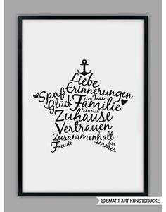 Familien Poster, Stern Kunstdruck / family art print with star made by SMART ART Kunstdrucke ® via DaWanda.com