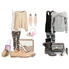 pattern leggings Both outfits are perfect! The shoes maybe I'd change maybe they might look good