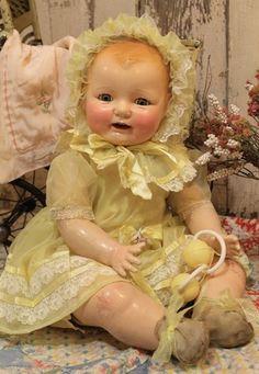 "Big 26"" Horsman Dimples Baby Doll Composition cloth antique old vintage"
