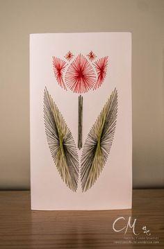 Bevor der Frühling ganz vorbei ist und wir uns … hoffentlich… über schöne Sommertage freuen können, möchte ich Euch heute noch diese Frühlingskarte zeigen. Und diese ist mal nicht gestempelt. Nein! Die Tulpe ist in Fadengrafik entstanden. Liebe Grüße Caro Embroidery Cards, Embroidery Stitches, String Art Patterns, Quilling Cards, Card Patterns, Flower Art, Card Making, Paper Crafts, Line Art