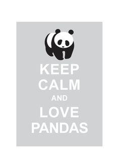 Keep Calm and Love Pandas : Light Grey - Wedding Birthday Anniversary Gift Children Decor Kids Room Home Decor - BUY 2 Get 1 Free. $10.80, via Etsy.