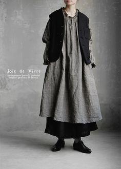 【楽天市場】【送料無料】Joie de Vivre墨染めハードマンズリネンワッシャー アンティークフリルワンピース:BerryStyleベリースタイル