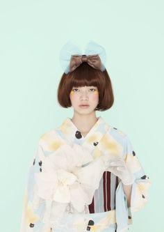 bob hair with lady kimono