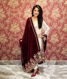Image may contain: 1 person Pakistani Wedding Outfits, Pakistani Dresses, Indian Dresses, Indian Outfits, Velvet Dress Designs, Indian Designer Suits, Stylish Dresses For Girls, Simple Dresses, Dress Indian Style