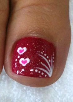 Vday Nails by passionfornails - Nail Art Gallery nailartgallery. by Nails M. Fancy Nails, Love Nails, Pretty Nails, My Nails, Pretty Toes, Valentine Nail Art, Valentines Design, Pedicure Nails, Pedicures