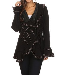 BLACK EBROIDERED CARDIGAN