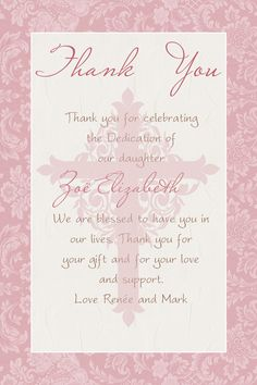 Baptism Party Thank You/ Christening Party Thank You /