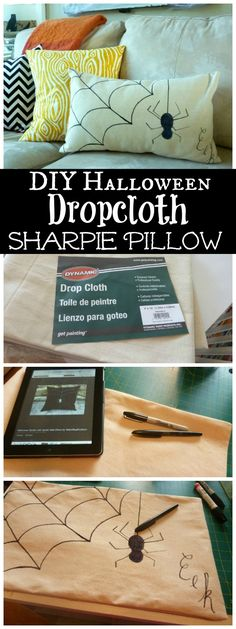 How to make a quick and easy DIY Halloween Dropcloth Sharpie Pillow at The Happy Housie