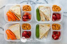 Quesadillas and veggies