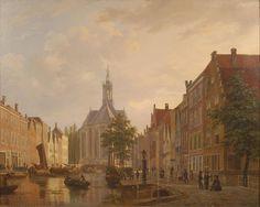 De Nieuwe Kerk gezien vanaf de Turfmarkt. Bartholomeus Johannes van Hove. Ergens tussen 1805 en 1880.