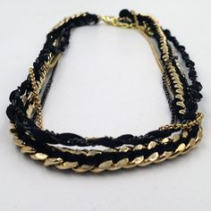 Goldfinger Multichain Necklace in gold and black by TiedInChainsJewelry on Etsy #TiedInChains #etsyjewelry #etsynyteam